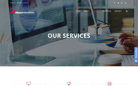 Screenshot of Services Page abyssinteractives.com - Services – Abyss Interactives - captured July 28, 2018