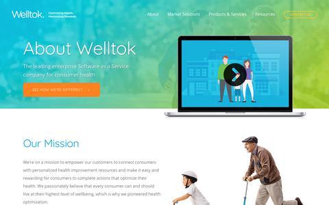 Screenshot of About Page welltok.com - About Welltok | SaaS Consumer Health Activation | Welltok - captured June 14, 2019
