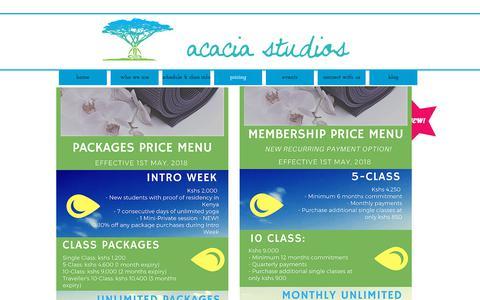 Screenshot of Pricing Page acacia-studios.com - acacia studios power vinyasa yoga studio in westlands, nairobi | pricing - captured July 28, 2018