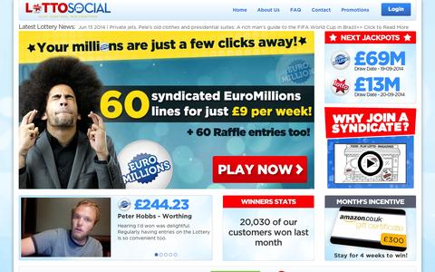 Screenshot of Home Page lotto-social.com - Lotto Social | Play National Lottery & EuroMillions syndicates - captured Sept. 19, 2014