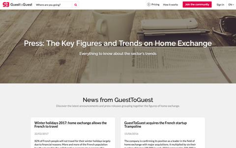 Screenshot of Press Page guesttoguest.com - Press: The Key Figures and Trends on Home Exchange - GuesttoGuest - captured Sept. 30, 2018