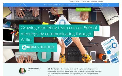 Screenshot of wrike.com - ROI Revolution Success Story | Wrike Customers - captured May 26, 2017