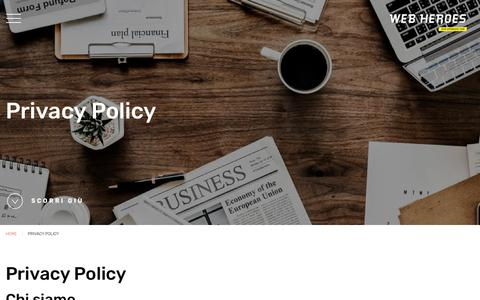 Screenshot of Privacy Page webheroes.it - Privacy Policy | Web Heroes - captured Sept. 20, 2018