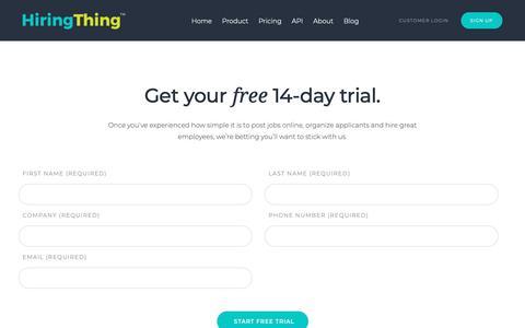 Screenshot of Trial Page hiringthing.com - HiringThing Recruiting Software | Free Trial - captured Jan. 31, 2019