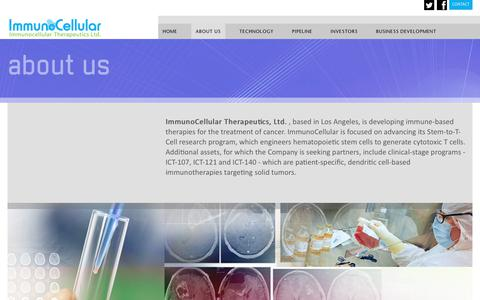 Screenshot of About Page imuc.com - ImmunoCellular Therapeutics, Ltd. is a clinical-stage biotechnology company - captured Sept. 23, 2018