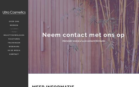 Screenshot of Contact Page ultracosmetics.nl - Neem contact met ons op | Ultra Cosmetics - captured Feb. 10, 2016