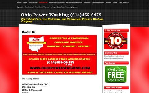 Screenshot of Contact Page ohiopowerwashing.com - Contact Us - Ohio Power Washing (614)465-6479 - captured Oct. 9, 2014