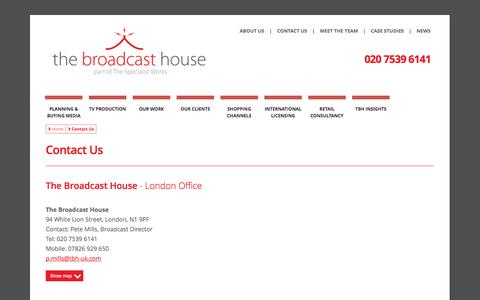 Screenshot of Contact Page the-broadcast-house.com - Contact - captured Sept. 30, 2014