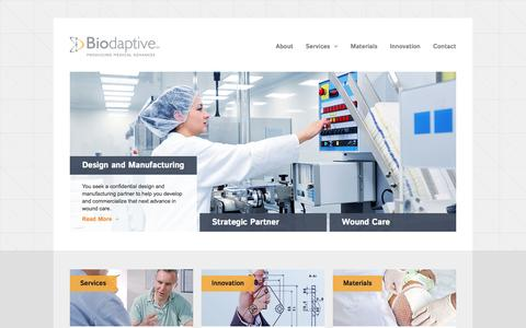 Screenshot of Home Page biodaptive.com - Biodaptive-Wound Care Products Design and Manufacturing - captured Oct. 5, 2014