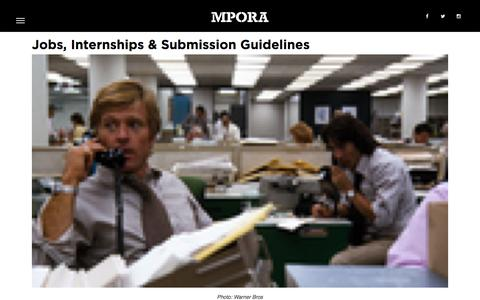 Screenshot of Jobs Page mpora.com - Jobs, Internships & Submission Guidelines - Mpora - captured Jan. 13, 2016