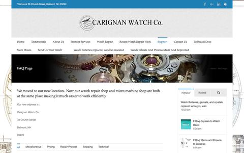 Screenshot of FAQ Page Support Page cwrnh.com - FAQ Page – Carignan Watch Company - captured July 15, 2017