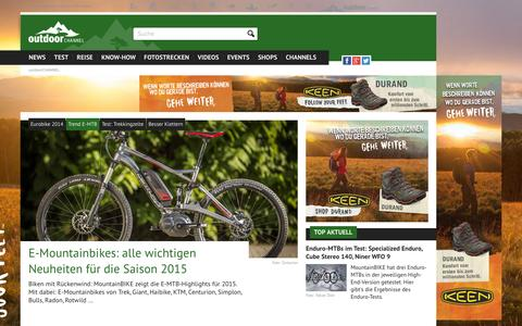 Screenshot of Home Page outdoor-magazin.com - Wandern, Zelten, Ausrüstung, News und Tests bei outdoor-magazin.com - captured Sept. 23, 2014
