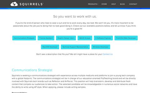 Screenshot of Jobs Page airsquirrels.com - Jobs available at Squirrels - captured Oct. 27, 2015