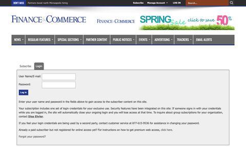 Screenshot of Login Page finance-commerce.com - Finance & Commerce - captured April 18, 2019