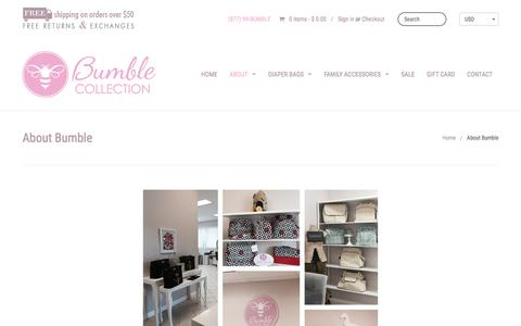 Screenshot of About Page bumblecollection.com - Diaper Bags, Baby Bags, Lunch Bags | Bumble Collection - captured Feb. 19, 2016