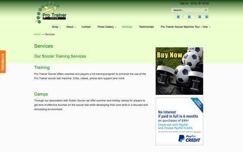 Screenshot of Services Page protrainersoccer.com - Services - Pro Trainer Soccer - captured Nov. 5, 2018