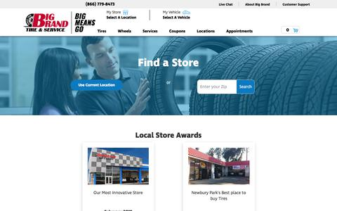 Screenshot of Locations Page bigbrandtire.com - Big Brand Tire & Service | Tires, Oil Change & Auto Service Locations in California - captured Oct. 10, 2017