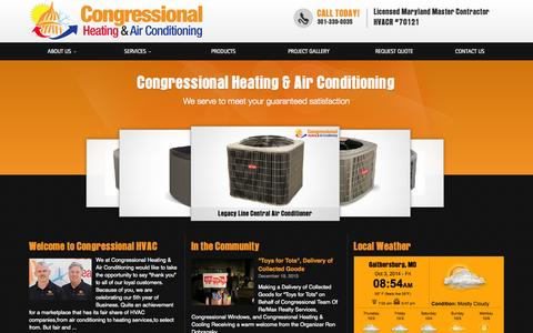 Screenshot of Home Page congressionalhvac.com - Air Conditioning and Heating in Maryland and Northern Virginia | HVAC | Congressional Heating and Air Conditioning Gaithersburg, Maryland - captured Oct. 3, 2014
