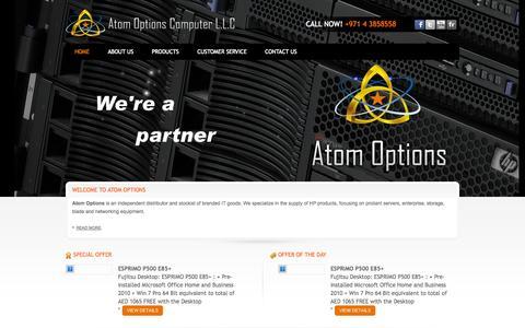 Screenshot of Home Page atomoptions.ae - Atom Options Computers LLC :: Home - captured Oct. 5, 2014