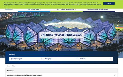 Screenshot of FAQ Page palram.com - FREQUENTLY ASKED QUESTIONS | Palram - captured Sept. 26, 2018