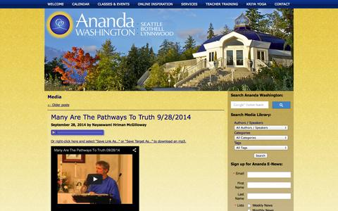 Screenshot of Press Page anandawashington.org - Media | Ananda Washington - captured Oct. 4, 2014
