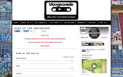 Screenshot of Signup Page bboysounds.com - Sign Up for Music and Articles from Bboysounds - captured Dec. 30, 2015