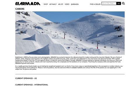 Screenshot of Jobs Page armadaskis.com - Careers   ARMADA SKIS - captured Nov. 12, 2015