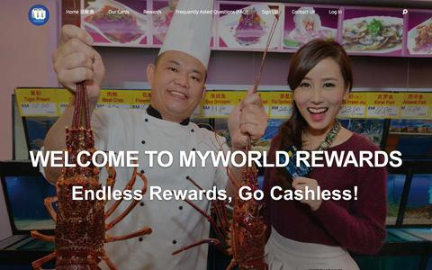 Screenshot of Home Page myworldrewards.com - MyWorld Rewards | Endless Rewards, Go Cashless! - captured July 16, 2015
