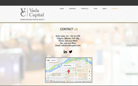 Screenshot of Contact Page vadacapital.com - Vada Capital | Contact Us - captured Dec. 18, 2016