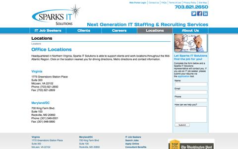 Screenshot of Contact Page Locations Page sparksitsolutions.com - Sparks IT Solutions - Locations - captured Oct. 23, 2014