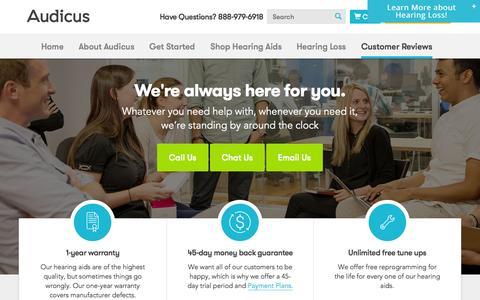 Screenshot of FAQ Page audicus.com - Customer Service  | Audicus Hearing Aids - captured Oct. 5, 2015