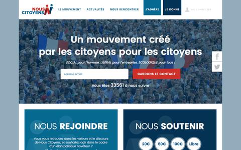 Screenshot of Home Page nouscitoyens.fr - Nous Citoyens | Un mouvement créé par et pour les citoyens - captured Sept. 18, 2016
