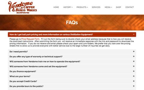 Screenshot of FAQ Page vendomecopper.com - FAQs | Vendome Copper & Brass Works INC - captured Feb. 14, 2016