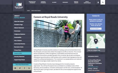 Screenshot of Jobs Page royalroads.ca - Careers at Royal Roads University | Royal Roads University | Victoria, BC - captured Sept. 25, 2014