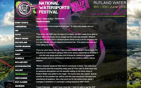 Screenshot of Testimonials Page nationalwatersportsfestival.com - Testimonials   National Watersports Festival - captured Oct. 20, 2018