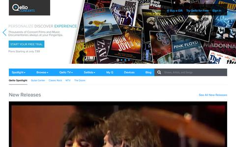 Screenshot of Home Page qello.com - Qello Concerts | Spotlight | Watch Live Concert Films and Music Documentaries On Demand - captured Jan. 21, 2016