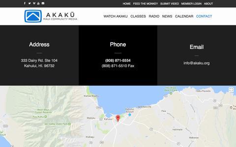 Screenshot of Contact Page akaku.org - Contact   Akaku - captured Oct. 7, 2017