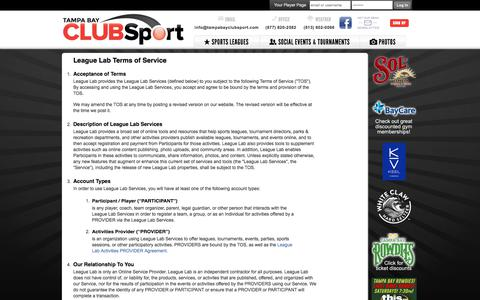 Screenshot of Terms Page tampabayclubsport.com - League Lab Terms of Service - St Petersburg, FL - captured Sept. 20, 2018