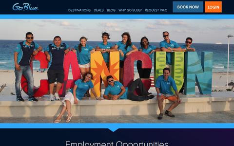 Screenshot of Jobs Page gobluetours.com - Employment Opportunities - captured July 15, 2016
