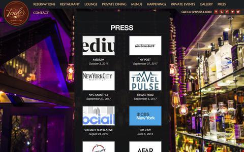 Screenshot of Press Page tendernyc.com - Press - Tender Steak & Sushi - captured Oct. 24, 2017