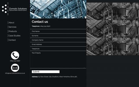 Screenshot of Contact Page osmoticsolutions.co.uk - Water treatment and process control   Osmotic Solutions - captured Sept. 30, 2014