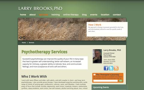 Screenshot of Services Page drlarrybrooks.com - Services - Larry Brooks, PHD - Larry Brooks, PHD - captured Oct. 2, 2014