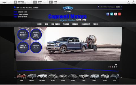 Screenshot of Home Page cogswellmotors.com - Ford Lincoln & Mazda Dealership in Russellville AR - captured Jan. 29, 2016