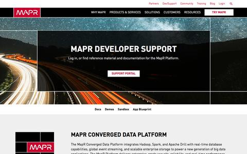 Screenshot of Developers Page mapr.com - Support | MapR - captured March 26, 2017