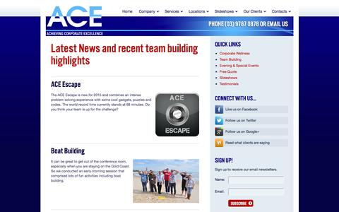 Screenshot of Press Page acetraining.com.au - ACE Training News, Events and Highlights | A.C.E. - captured Nov. 16, 2016