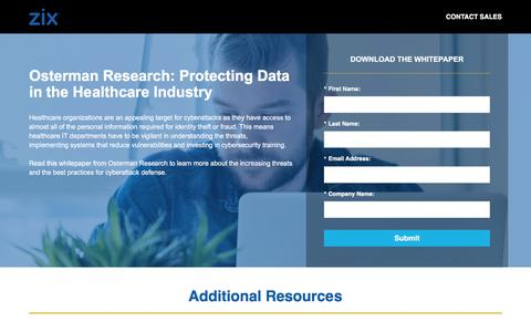 Screenshot of Landing Page zixcorp.com - Protecting Data in the Healthcare Industry - captured Sept. 26, 2017