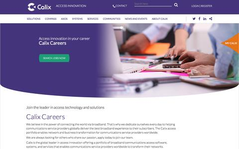 Screenshot of Jobs Page calix.com - Careers - captured July 3, 2016