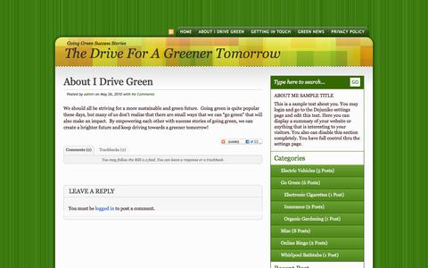 Screenshot of About Page i-drivegreen.com - About I Drive Green «  The Drive for a Greener Tomorrow - captured Oct. 3, 2014