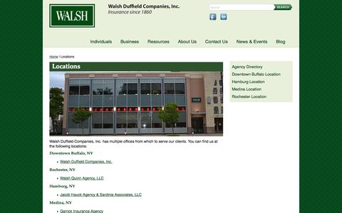 Screenshot of Locations Page walshins.com - Locations - Walsh Duffield Companies, Inc. - captured Oct. 27, 2014