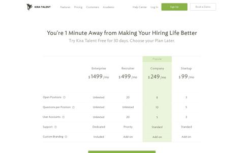 Screenshot of Pricing Page kiratalent.com - Pricing - Start for Free | Online Video Interviews - Kira Talent - captured July 19, 2014